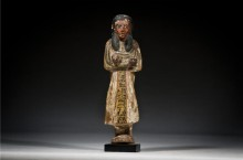 An Egyptian Wood Painted Ushabti for Lady Anhai