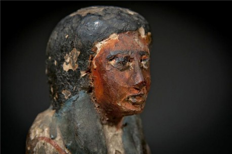 An Egyptian Wood Painted Ushabti for Lady Anhai