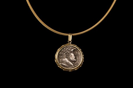 Silver Tyre Shekel Coin in an 18K Gold Pendent