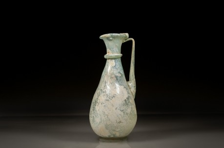 Graceful Roman Glass Jug with a Neck Ring