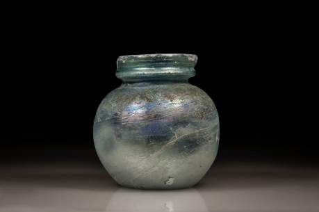 Glass Jar with Folded Rim and Indents