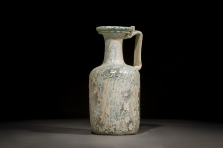 A Roman Glass Jug with a handle