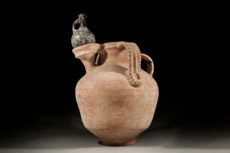 Israelite Olive Oil Jar with Dipper Juglet Holder