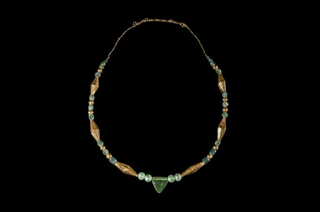 Roman Green Glass Necklace with 22K Gold Inserts