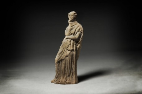 Greek Tanagra Statuette of a Standing Woman