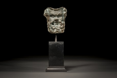 Hellenistic Bronze Face of Silenus Greek god of Drunkenness and Wine