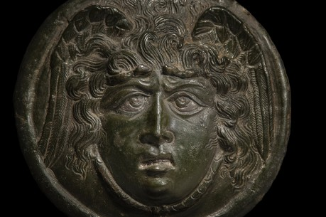 Roman Bronze Medusa Phalera with Silver Inlays