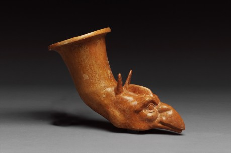 Greek Terracotta Rhyton with Griffin Protome