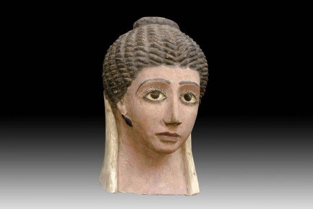 A Fine Egyptian Gypsum Mask of a Young Woman