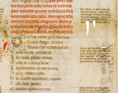 Leaf from an Illuminated Manuscript in Latin – Boethius, De Consolatione Philosophiae