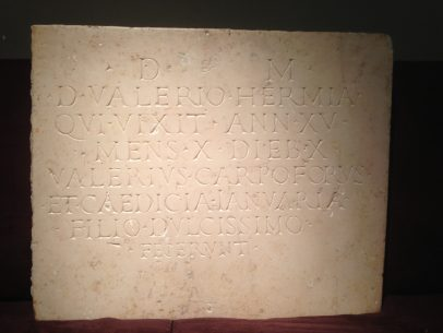 Roman Inscription Under the Name of VALERIO HERMIA
