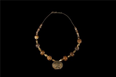 Banded Agate Necklace with 22K Gold Inserts