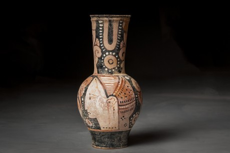 Greek Red Figure Oinochoe Painted with a Face