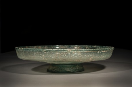 Large Glass Footed Plate with High Rim