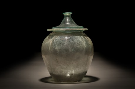Roman Blue Green Glass Cinerary Urn with lid