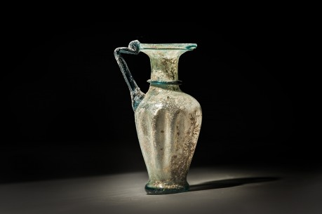Roman Two Tone Glass Ribbed Jug