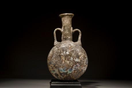 Large Glass Lentoid Flask