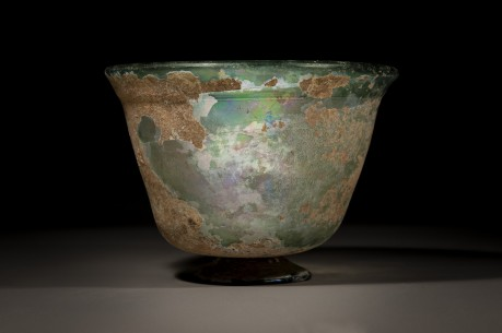 A Large Glass Bowl with A Pedestal Foot