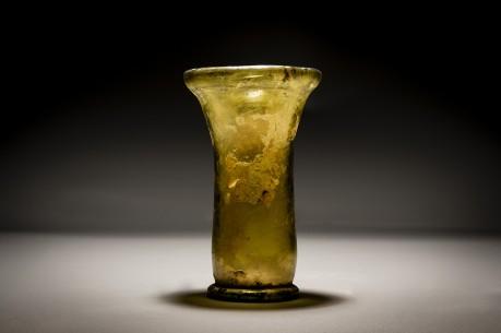 A Roman Amber Flaring Glass Wine Beaker