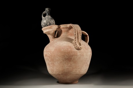 Israelite Olive Oil Jar with Dipper Juglet Holder