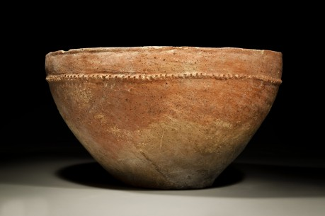 Large Red Slip Canaanite Bowl with Incised Collar