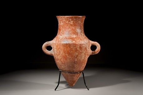 A Ceramic Red Slip with Radial Burnish Amphoriskos