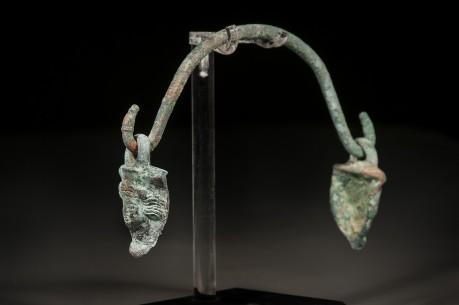 Roman Bronze Pot Handle with Faces