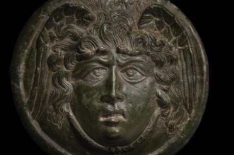 Roman Bronze Medusa Phalera with Silver Inlays