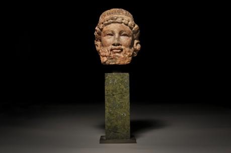 Archaistic Rosso Antico Herm Head of Dionysus