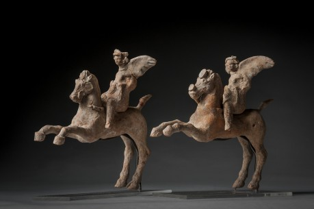 A Pair of Horses with Winged Eros