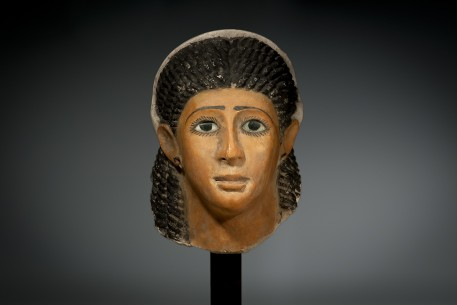 A Fine Egyptian Gypsum Mask of a Woman