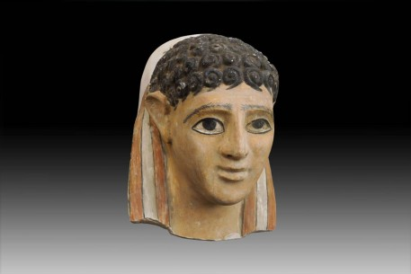 A Fine Egyptian Gypsum Mask of a Male Youth