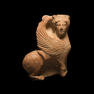 Greek Ceramic Figurine of a Sphinx